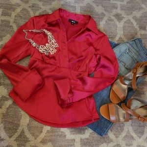 BCX RED SATIN FITTED BLOUSE NWOT *56
